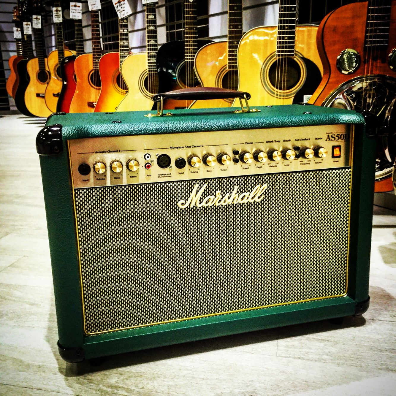 Limited Edition Marshall As50d Acoustic Guitar Amplifier In Racing Green