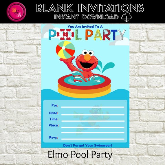 Elmo Pool Party Invitation Blank Instant Download Template Elmo