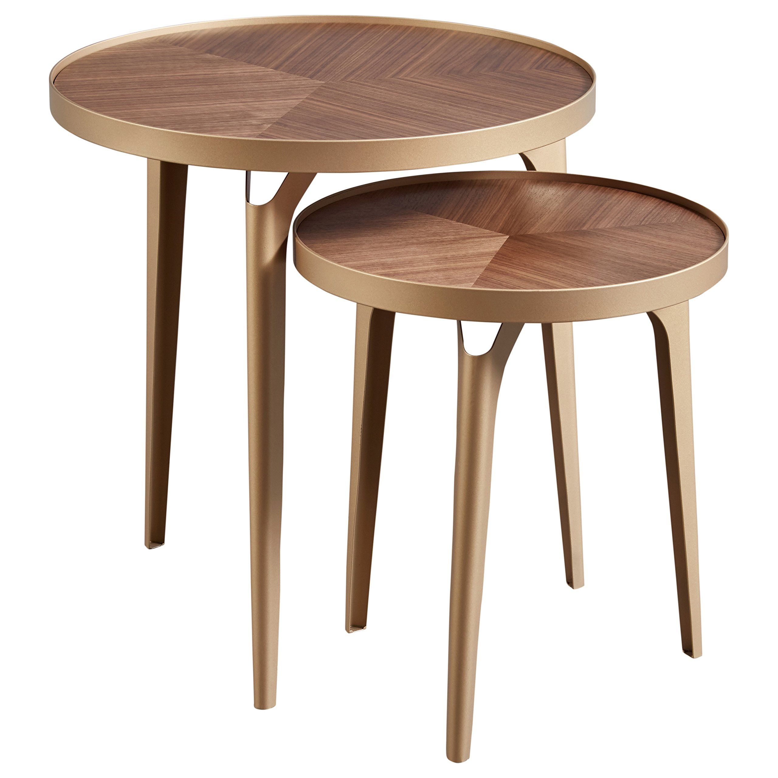 Rivet Mid Century Nesting Metal Side Table Set Of 2 Brass And