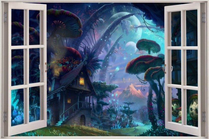 Huge 3D Window Fairy tale Enchanted Forest Fantasy View Wall Stickers Film Decal