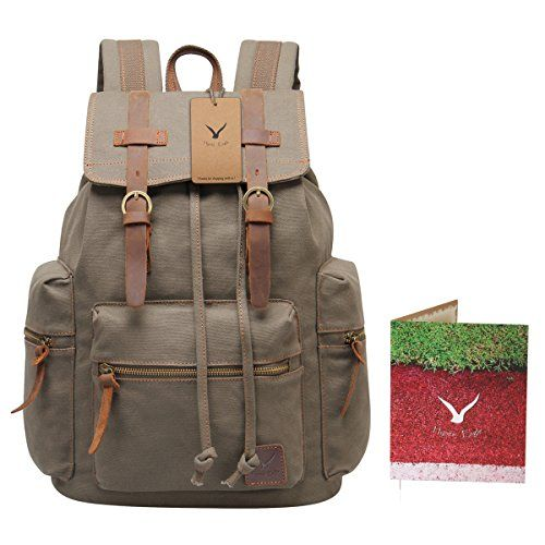 0da80850423 Hynes Eagle Vintage Canvas Leather Backpack Rucksack 19 Liter (Army Green)      To view further, visit