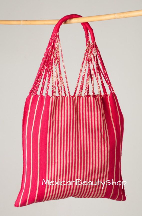 213a63d418 Mexican handwoven bag   Stripped red and cream   gift for her ...
