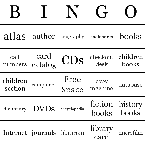 Library Bingo Card Sample  Library Media  SayingsQuotes