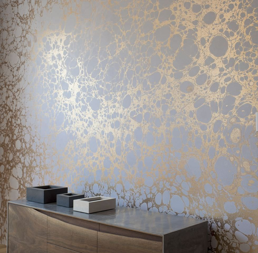 . Contemporary wallpaper   patterned   metallic   handmade   WABI