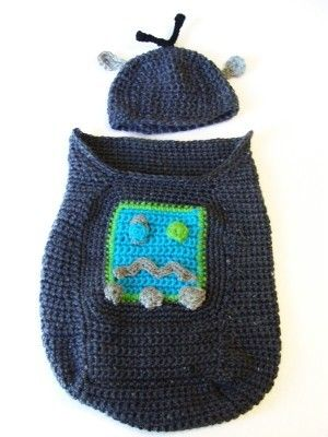Robot Baby Cocoon And Hat Baby Cocoon Crochet And Blanket