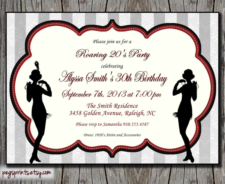 Roaring 20s invitation Casino Night Pinterest