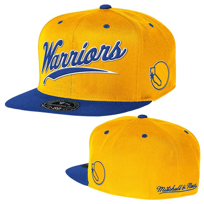 big sale faef2 11030 Golden State Warriors Mitchell   Ness Billboard Script Fitted Cap – Gold