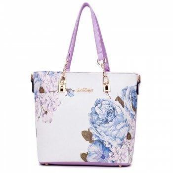 4d4d88e70e3b Flower Print 6 Pieces Shoulder Bag Set - PURPLE