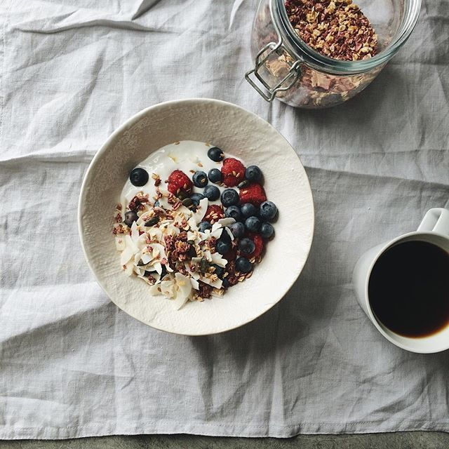 [Photo by sarkababicka on Instagram] Power breakfast for a busy day ahead. Goat milk yogurt granola fresh berries flaked coconut pumpkin seeds linseed and a squeeze of agave syrup.