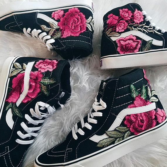 Bright Colors! Custom Rose Floral Embroidered Patch Vans Sk8-HI in ... 452bed50ac8