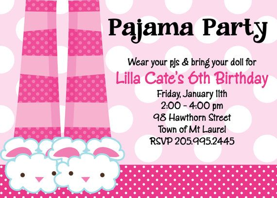 Bunny Slippers Pajama Party Birthday Invitation Printable or – Pajama Party Invites