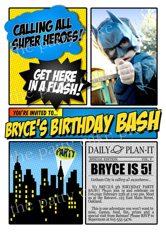 Batman Photo Invitation Birthday Party Custom By ThePattyCakePress 1600