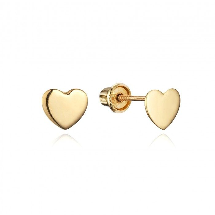 Baby And Children S Earrings Simple 14k Gold Heart With Backs Back From Jewels