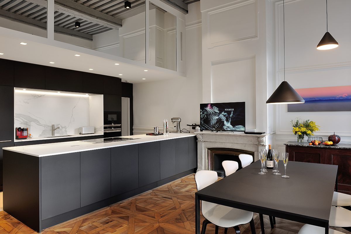Appartement Lyon Cuisine Luxe Varenna Niche Marbre