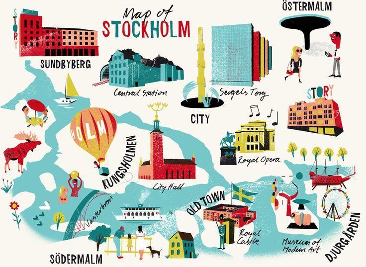Map Of Stockholm Jens Magnusson Illustrator Illustration - Map sweden 2014