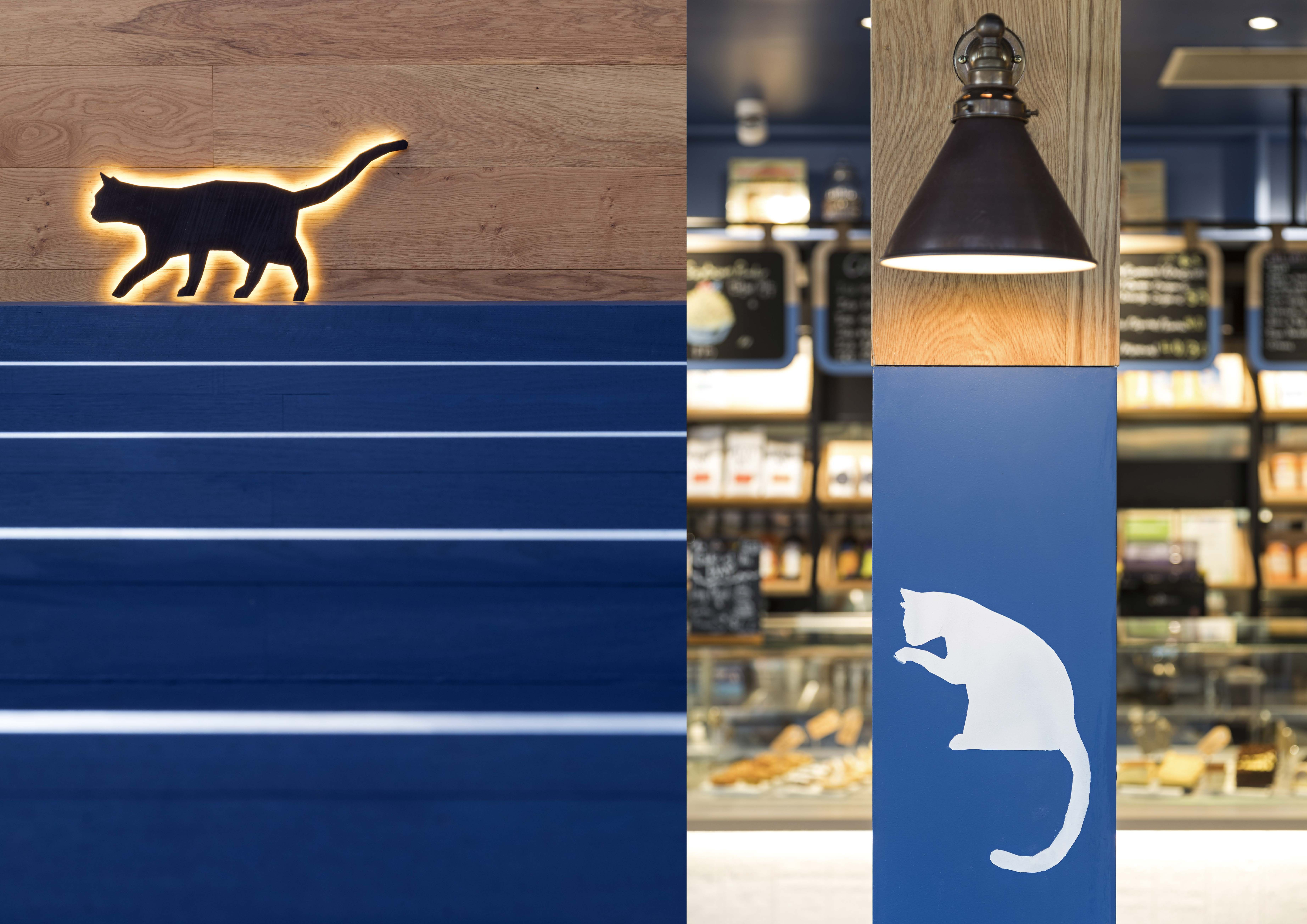 """Design inspiration comes from the name """"Lazy Cat """". Creating a space for all cat lovers and local community to enjoy quality coffee and place to share laughter and stories. #interior #design #retaildesign #retail #hospitality #timber #cafe #architecture #designer #tiles  #shop #cat #lighting #counter #signage #graphicdesign #graphics"""