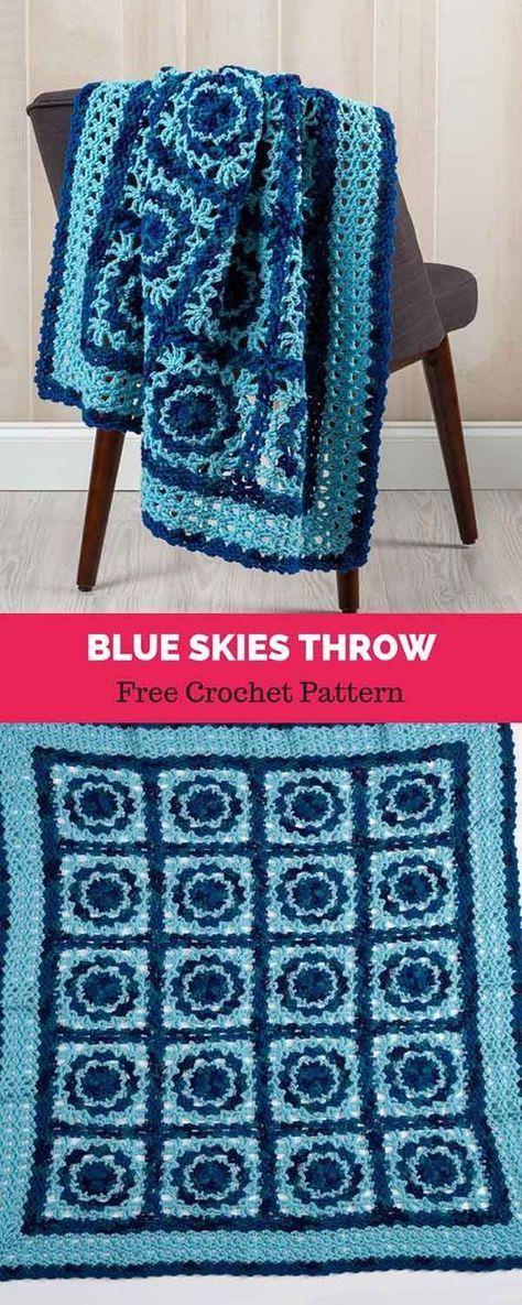 Blue Skies Throw [ FREE CROCHET PATTERN   Crochet Projects ...
