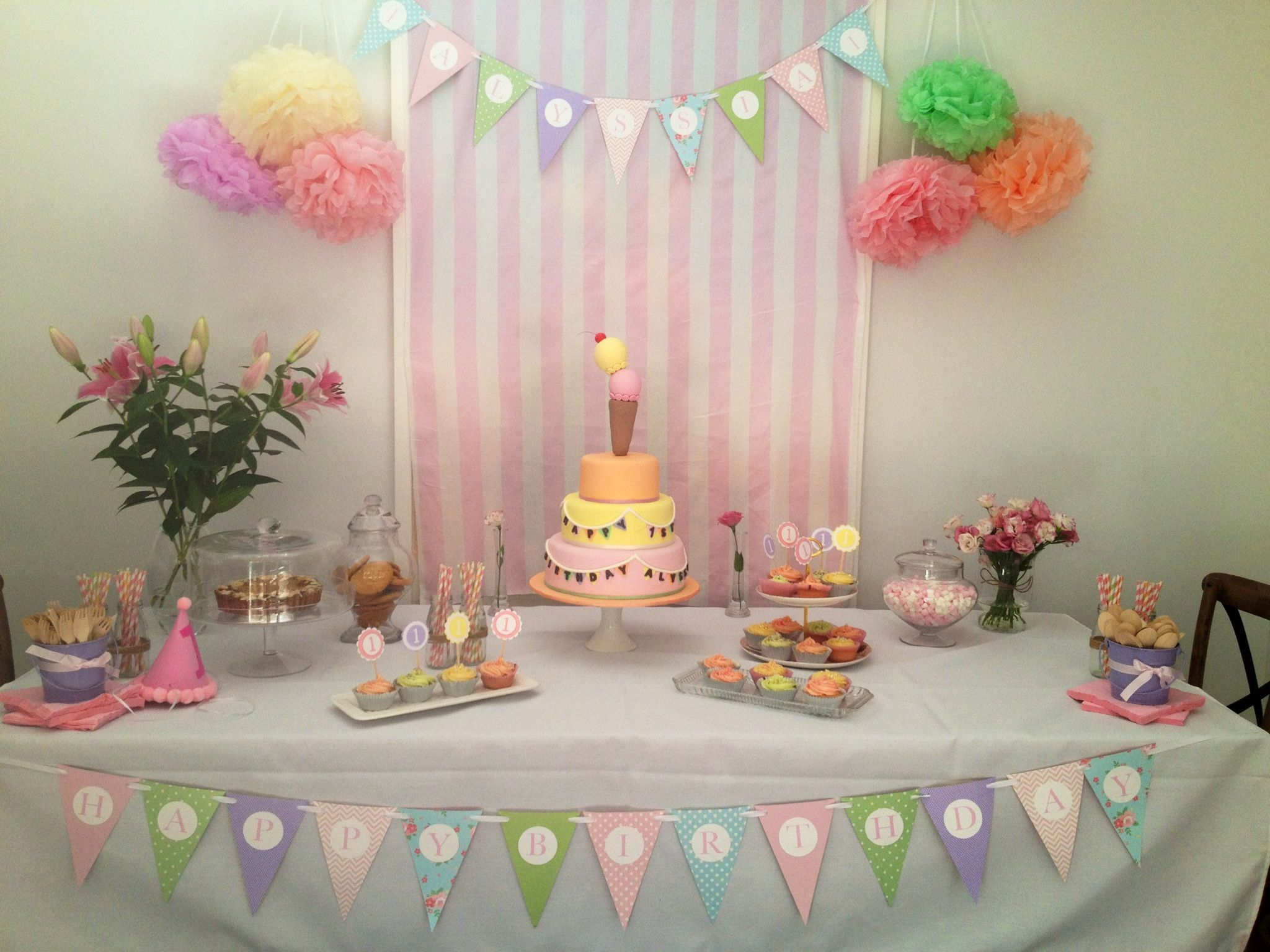 1st Birthday Buffet Dessert Table This Was All In A Pastel