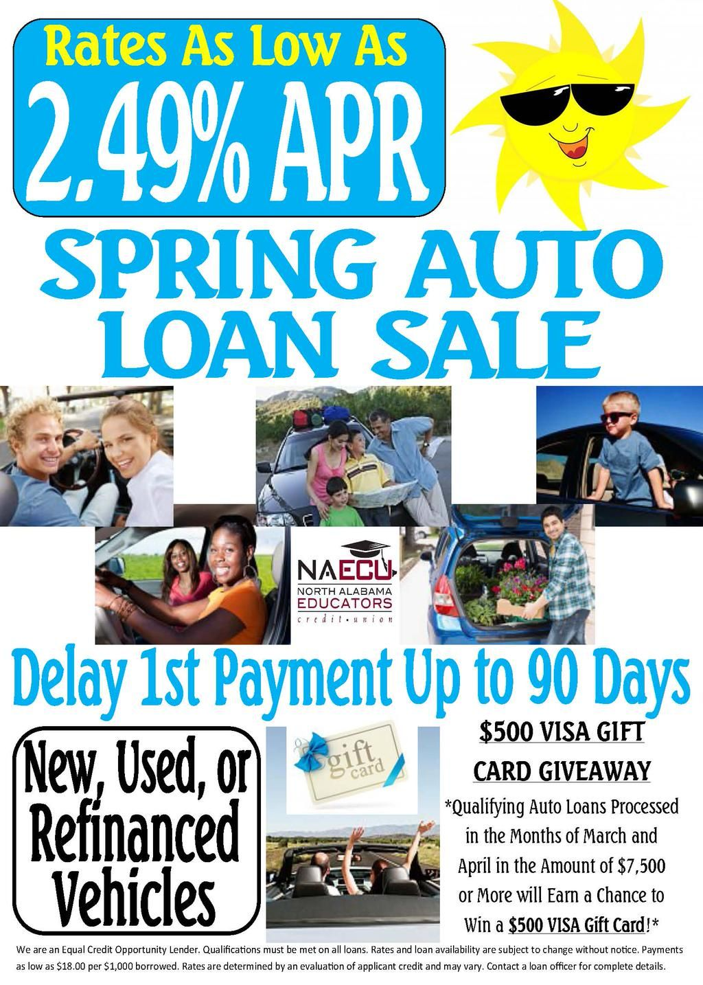 Spring Auto Loan Sale MarchApril 2014 at North Alabama