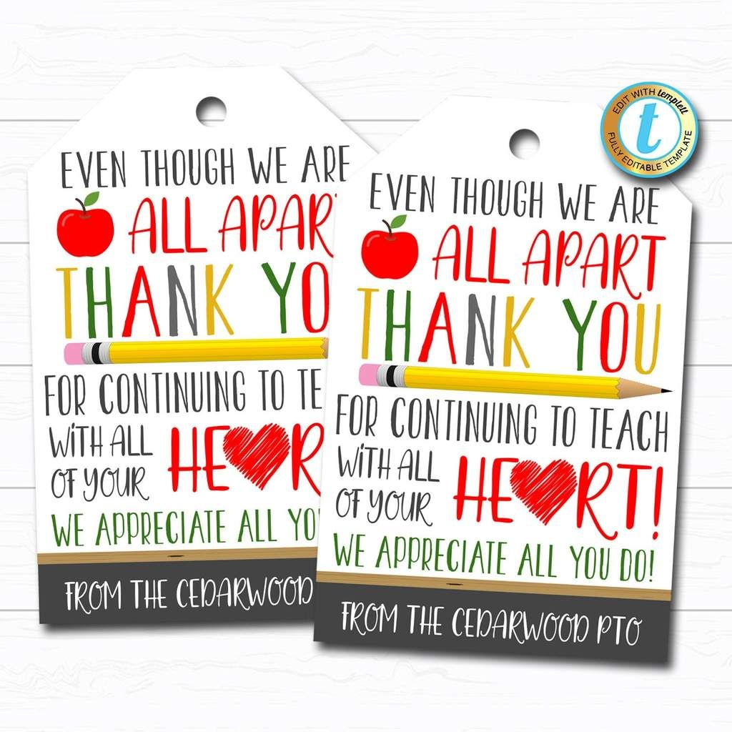 Virtual Teacher Appreciation Week Gift Tag - Thank You Gift School Pto Pta, Long Distance Online Learning, Quarantine, DIY Editable Template