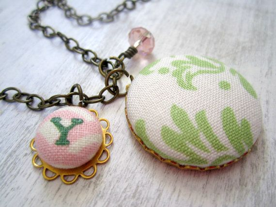 Initial Necklace, Monogram Necklace, Mom Necklace, Green and Pink Necklace, Initial Charm Necklace, Personalized Jewelry