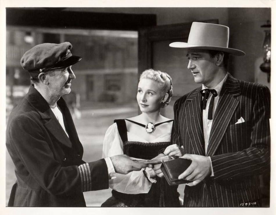 John Wayne Walter Brennan And Vera Ralston In Dakota 1945