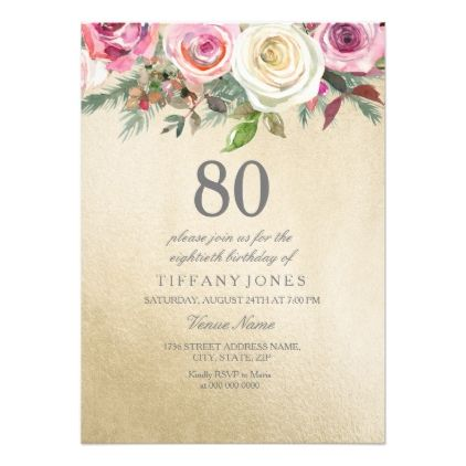 Gold Foil White Pink Rose 80th Birthday Invite