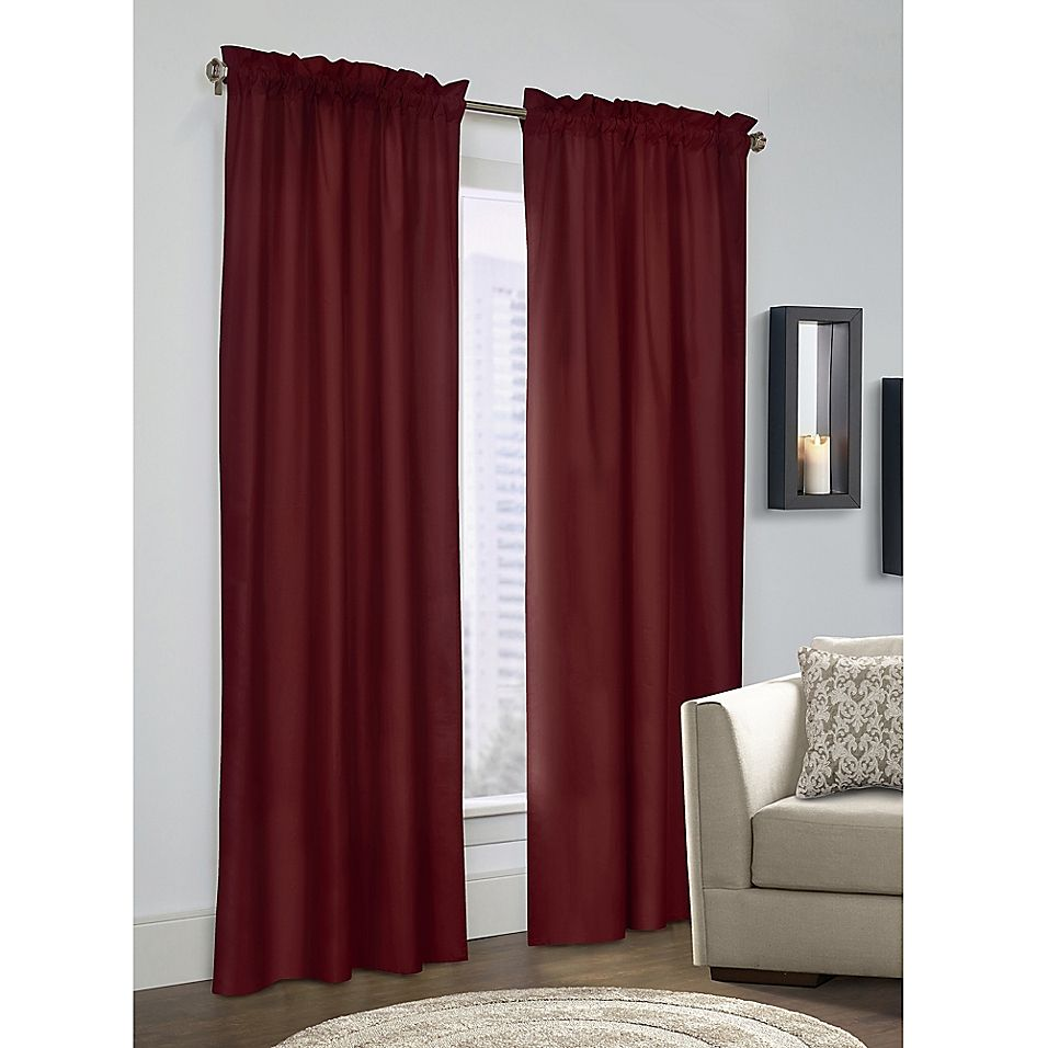 Prescott 72 Rod Pocket Window Curtain Panel Pair In Burgundy