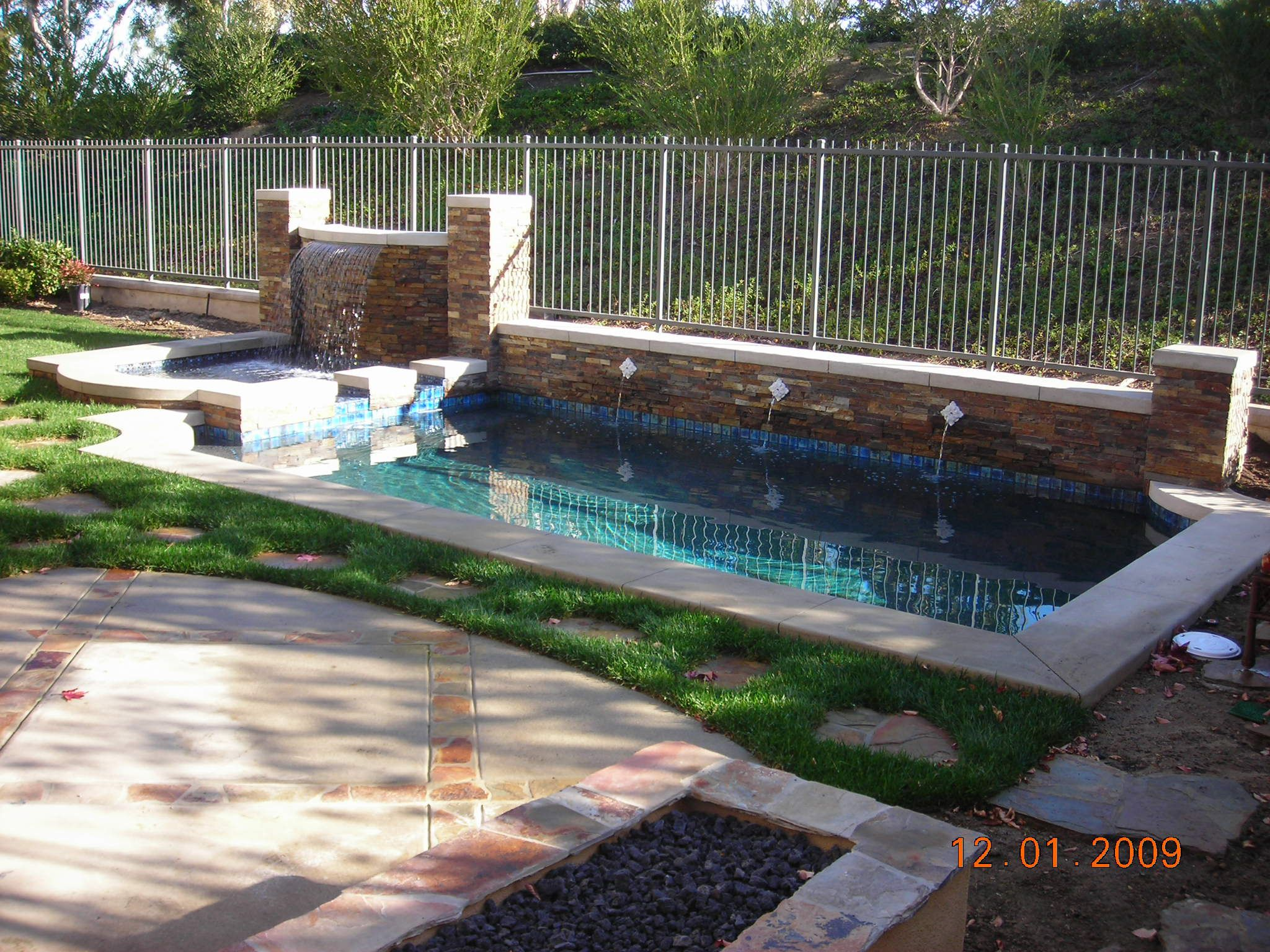 Garden Small And Modern Contemporary Swimming Pools With Some Waterfall  Also White Metal Fences Also Natural Brick Wall Of Pool Also Pation And  Stepped In ...