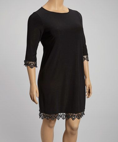 Another Great Find On Zulily Black Lace Trim Shift Dress Plus By