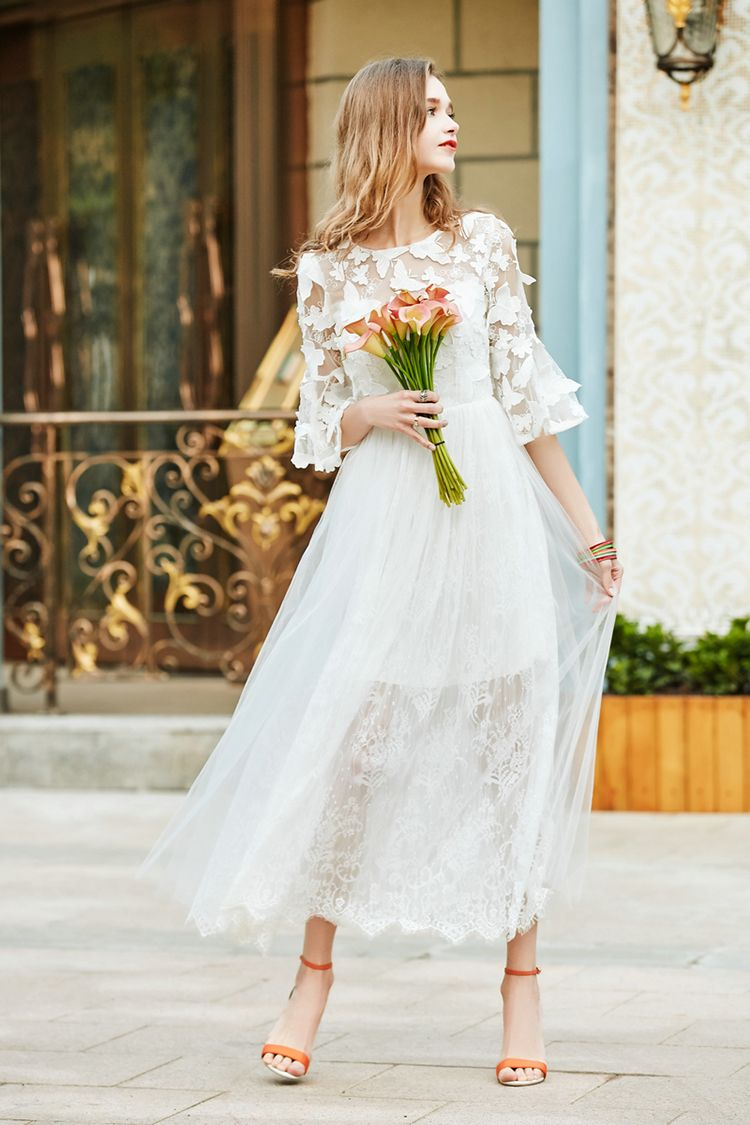 Designer high end 2017 women spring summer fashion white 3D butterfly embroidery flare sleeve long casual beach lace dress 8829