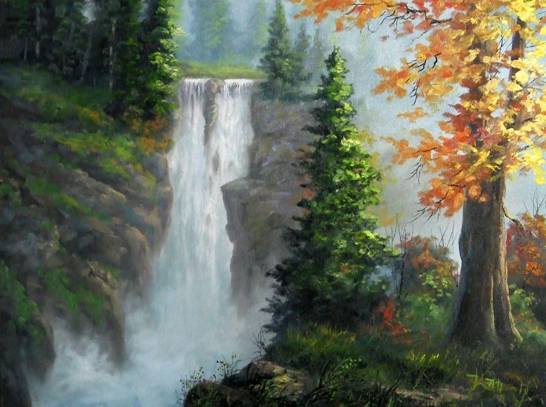 Dvd Digital Downloads Paint With Kevin Waterfall Paintings Waterfall Landscape Waterfall