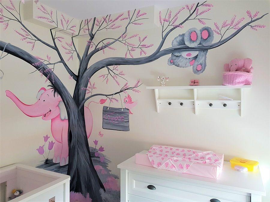 Babykamer Daphne Stijlen : Babykamer muurschildering olifant en beertje door saskia de wit