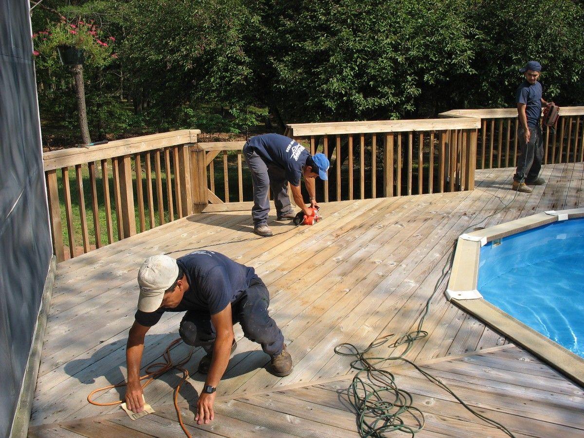 Deck sanding by deck restoration plus deck restoration
