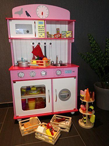 Kinderküche Spielküche aus Holz mit Zubehör ROSA