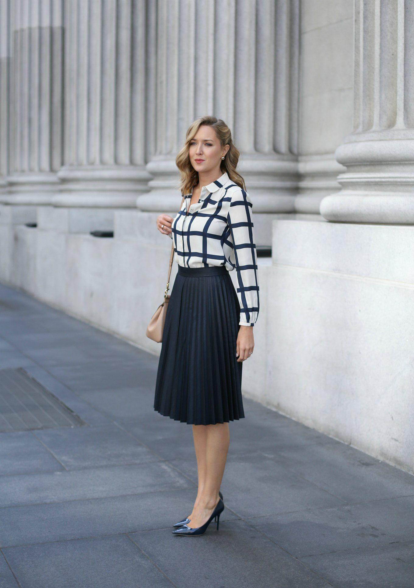 Windowpane Blouse And Pleated Midi Skirt Memorandum