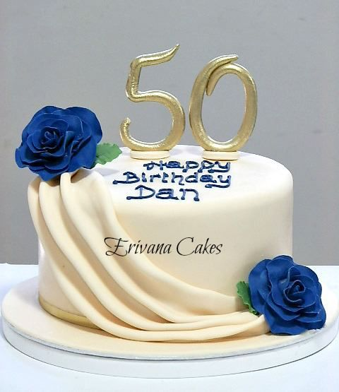 Elegant Birthday Cakes for Women Ivory and Blue 50th Birthday cake