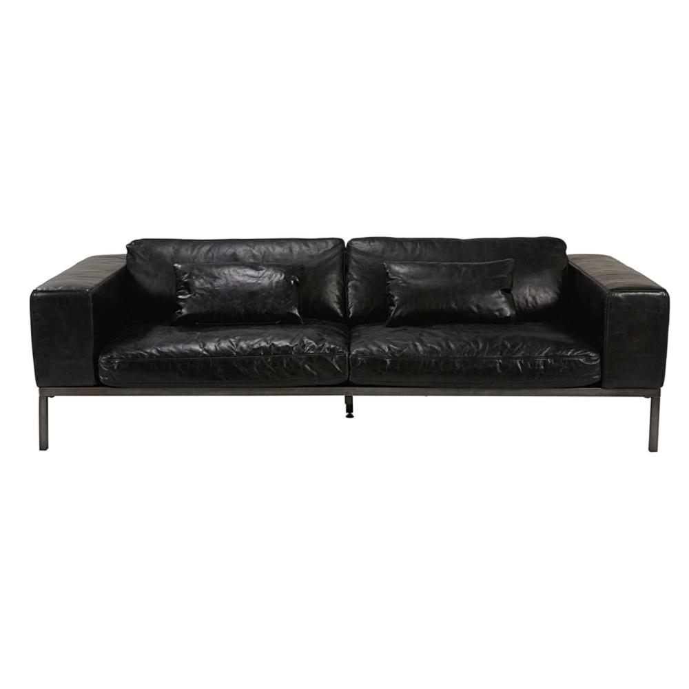 Canape 4 Places En Cuir De Vachette Noir Vieilli With Images Leather Sofa 3 Seater Leather Sofa Stylish Sofa