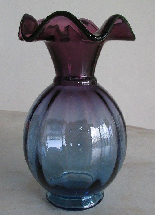 Mulberry Purple Shading To Blue Vase 9 Tall Fenton Vases Etc