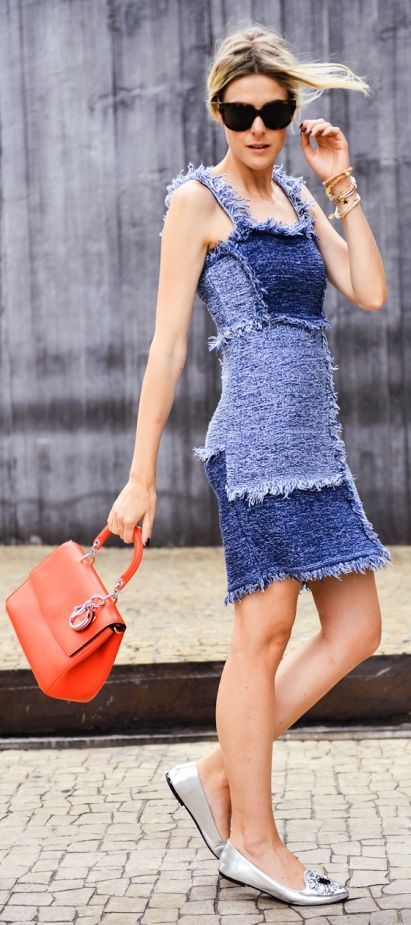 Shades Of Blue Fringed Patchwork Denim Little Dress