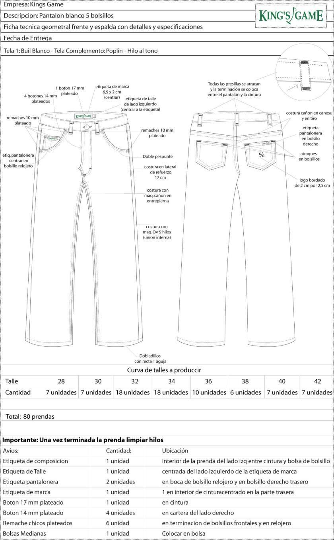 ficha pantalon blanco basico | Technical Design - FICHAS TÉCNICAS ...