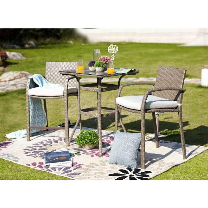 New Braunfels 3 Piece Outdoor Bistro Set With Cushions In 2020