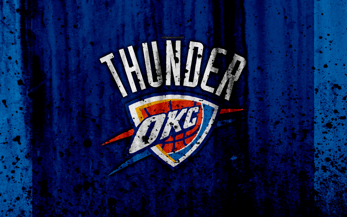 best sneakers 22b8d c52fe Download wallpapers 4k, Oklahoma City Thunder, grunge, NBA ...