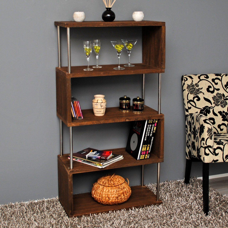 raumteiler holz wand stand b cher 126 cm bad b ro regal schrank shabby dunkelbraun neu amazon. Black Bedroom Furniture Sets. Home Design Ideas