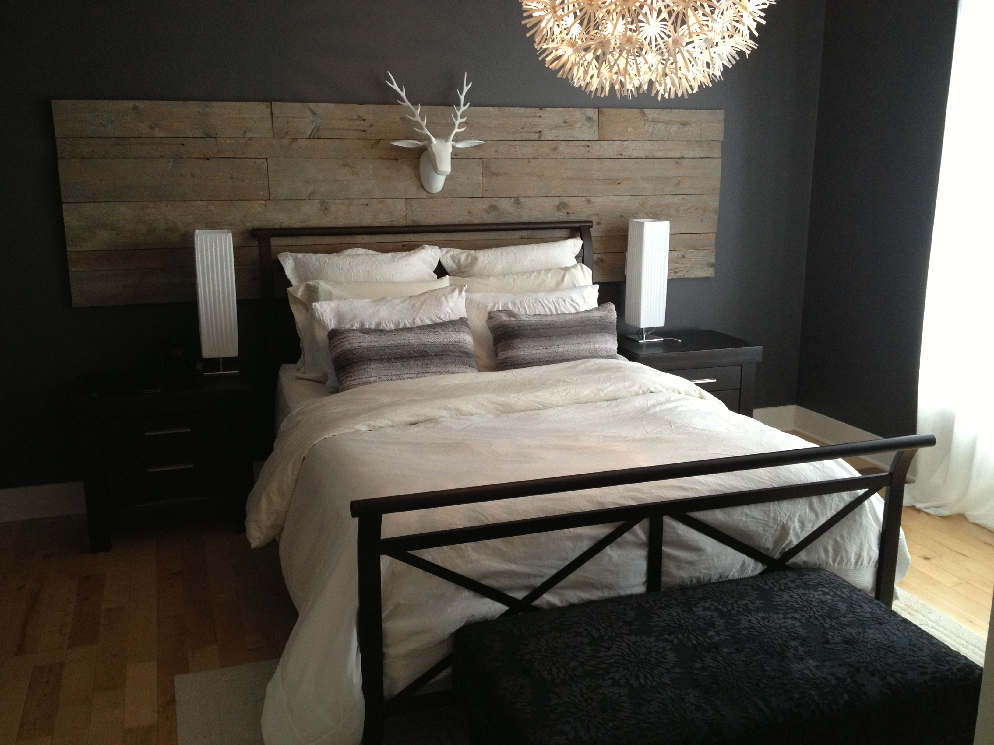 t te de lit bois de grange barn wood bedhead bois. Black Bedroom Furniture Sets. Home Design Ideas