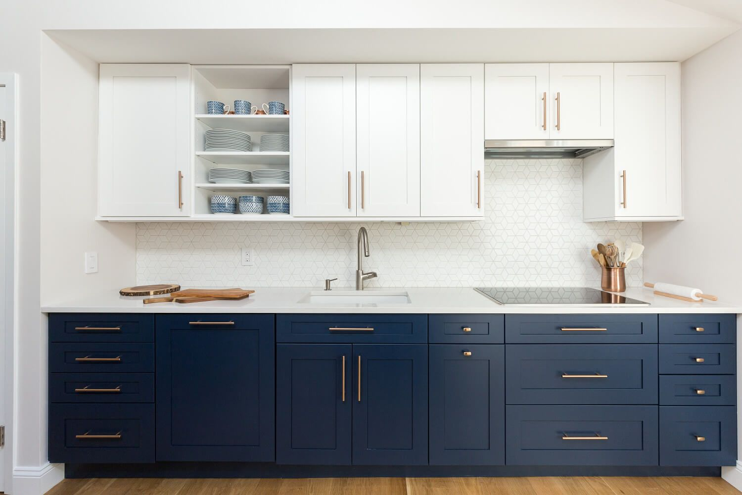 Kitchen with new white & navy shaker cabinets, white ...