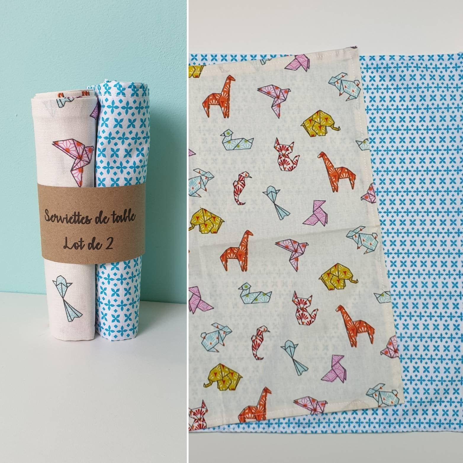 Serviettes De Table Lavable Origami Et Motif Bleu Lot De 2 Serviette En Coton Zero Dechet In 2020 Notebook