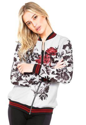 b7e15f29437 Jaqueta Bomber Cavalera Floral Branca Preta Vermelha - Compre Agora