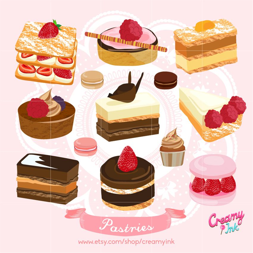 Cakes And Dessert Digital Clip Art Featuring Different Types Of Pastries Sweets Such As Muffin Macaron More Clipart Vector Design See