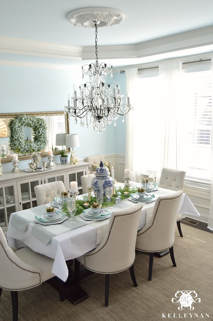 Blue And White Easter Table Kelley Nan In 2020 Dining Room